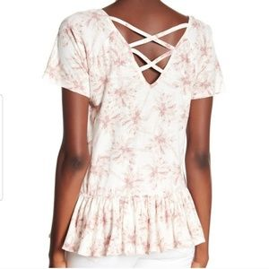 Lucky Brand Palm Tree Watercolor Strappy V Top L